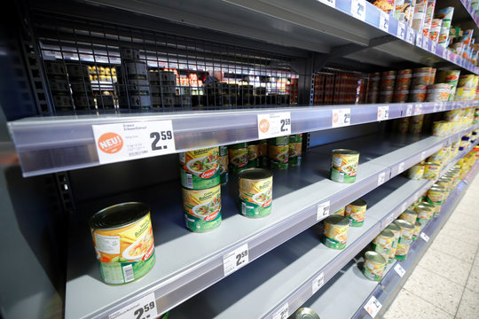 Empty super-market shelfs due to coronavirus (COVID-19) related to panic buys over the weekend in Bad Honnef