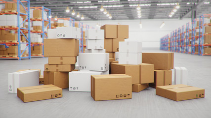 3D Illustration packages delivery, parcels transportation system concept, heap of cardboard boxes in middle of the warehouse. Warehouse with cardboard boxes inside on pallets racks. Huge warehouse.