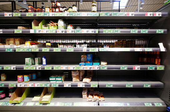 Empty supermarket shelfs due to COVID-19 related panic buys over the weekend in Bad Honnef