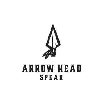 Native Indian Spear Arrowhead for Hunting, Hunter Vintage and Hipster Logo Design vector illustration