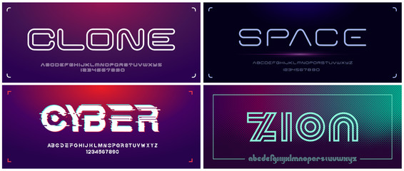 Set of futuristic display fonts for headlines and logos