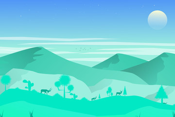 Papiers peints Vert corail The background of the mountain's natural landscape, the green hill with the blue sky moon. And a deer who is looking for grass Public park with nature. Vector illustration