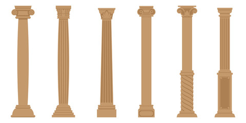 Vector set of ancient columns. Objects in flat style isolated on white background.