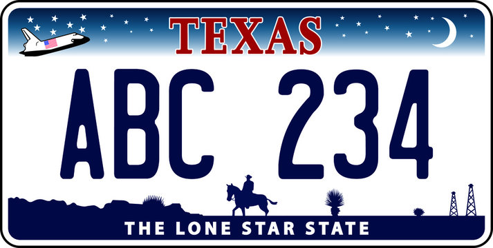vehicle licence plates marking in Texas in United States of America