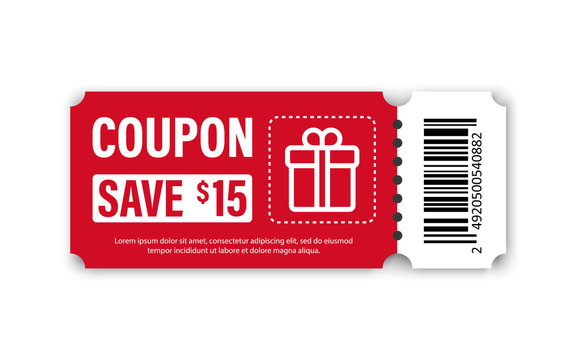 Set of Template Coupon. Gift Coupon element template, graphics design. Voucher promo code. Shopping, marketing, food and drink, business. Vector illustration.