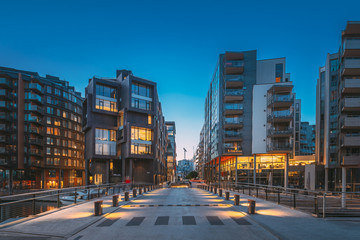 Oslo, Norway. Night View Of Residential Multi-storey Houses In Aker Brygge District. Summer Evening. Residential Area. Famous And Popular Place Fotobehang