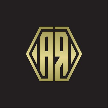 AR Logo monogram with hexagon line rounded design template with gold colors
