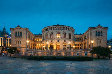 Fotomurales - Oslo, Norway. Night View Of Storting Building. Parliament Of Norway Building