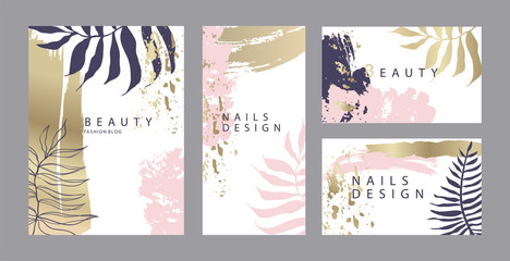 Set of gentle design templates cards for beauty salon or wedding invitation with pastel pink and gold brush strokes Wall mural