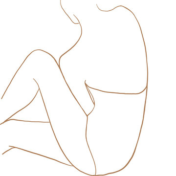 Continuous line drawing. Woman sitting back. Fashion concept, woman beauty minimalist, vector illustration for t-shirt, slogan design print graphics style. One line fashion illustration
