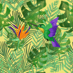 Canvas Prints Draw Tropical summer pattern with watercolor colibri and orange strelitzia on green exotic plants. Seamless pattern. Stationery, beach, packaging, wallpaper, textile design