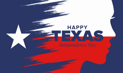 Texas Independence Day. Freedom holiday in Unites States, celebrated annual in March. Lone star flag. Texas flag. Patriotic sign and elements. Poster, card, banner and background. Vector illustration