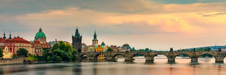 Foto auf Leinwand Prag Charles Bridge, Old Town and Old Town Tower of Charles Bridge, Prague, Czech Republic. Prague old town and iconic Charles bridge, Czech Republic. Charles Bridge (Karluv Most) and Old Town Tower.
