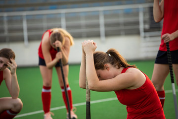 Female hockey players after the match