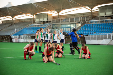 Female hockey players during the match
