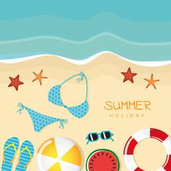 different beach utensils summer holiday background with flip flops sunglasses bikini and starfish vector illustration EPS10