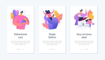 Men taking paternity leave metaphors. Caring single father, stay-at-home dad, parenting. Daddy spending time with kid. Fatherhood and childcare vector icon set for website app UI.