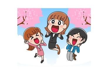 イラスト素材:入社 新生活 スーツ 春 女子 OL 3人組 かわいい