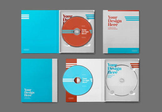 2 CD/DVDs with Cardboard Jewel Cases Mockup