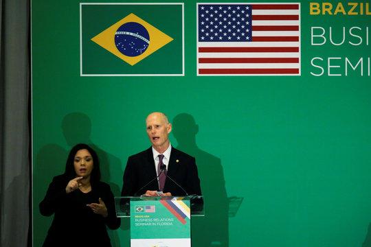 U.S. Senator Rick Scott (R-FL) speaks during the Brazil-USA Business Relations Seminar, in Miami