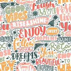 Wall Murals Positive Typography Lettering seamless pattern positive words. Sweet cute inspiration typography. For textile, wrapping paper, hand drawn style backgrounds