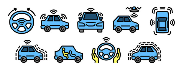 Driverless car icons set. Outline set of driverless car vector icons for web design isolated on white background