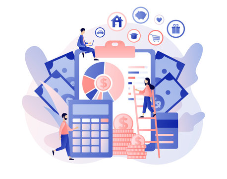 Budget management. Personal financial control. Financial literacy. Cash flow. Tiny people is planning the personal budget. Modern flat cartoon style. Vector illustration on white background