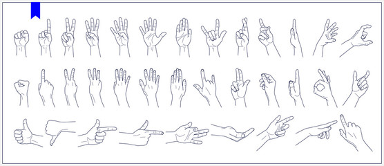 Set of contours of human hands, signs and gestures isolated vector illustrations on a white background