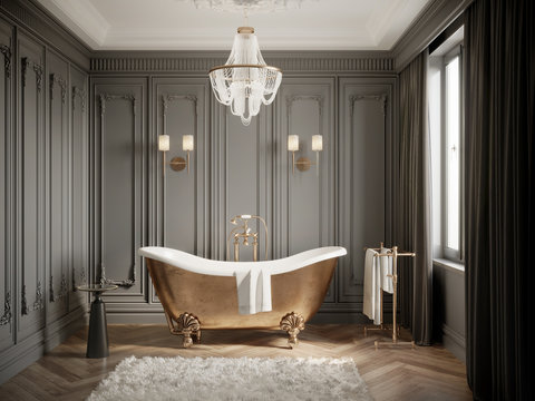3d Classic grey bathtoom with brass vintage barhtub and a chandelier