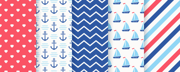 Nautical seamless pattern. Vector. Marine, sea backgrounds with anchor, sailboat, zigzag, stripe and heart. Set summer texture. Geometric blue print for baby shower, scrapbooking. Color illustration