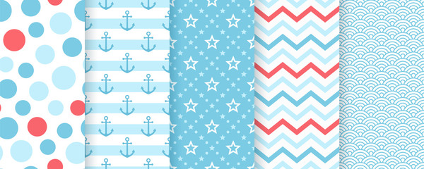 Nautical seamless pattern. Vector. Marine sea backgrounds with anchor, stripes, star and waves. Set blue summer prints. Geometric texture for baby shower, scrapbooking. Color illustration