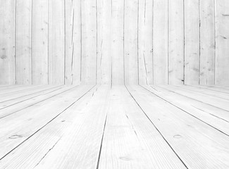 empty interior room - white wall wooden planks in front view - floor perspective - wood texture for rustic background Fotomurales