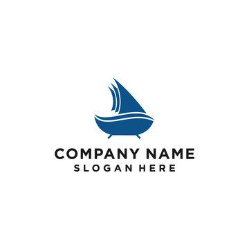 boat bathtub logo icon design vector