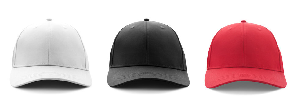 Blank white, black and red baseball cap mockup template isolated, clipping path.