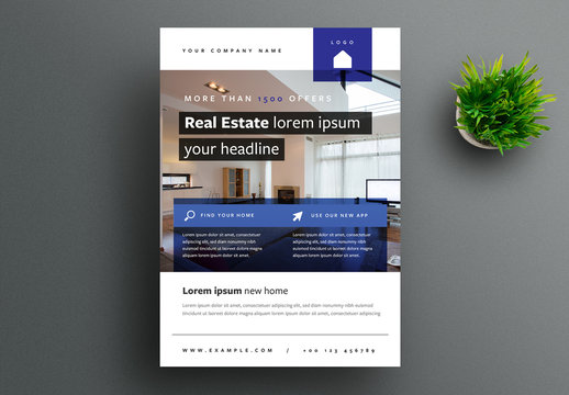 Business Flyer Layout with Dark Blue Accents