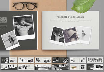 Instant Photo Album Layout with Black Accents