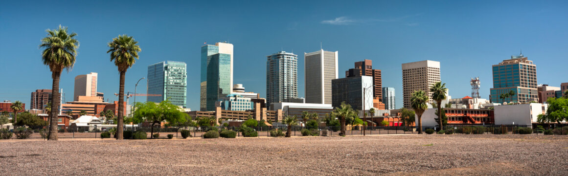 Cityscape skyline panoramic view of office buildings and apartment condominiums in downtown Phoenix Arizona USA