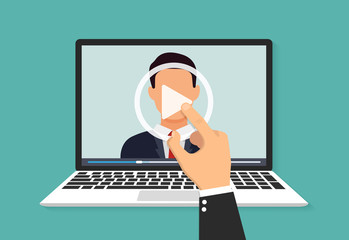 Illustration of webinar, online conference and training. Flat. Vector illustration