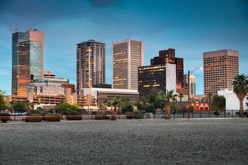 Zelfklevend Fotobehang Arizona Cityscape skyline view of office buildings and apartment condominiums in downtown Phoenix Arizona USA
