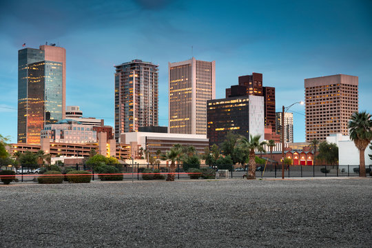 Cityscape skyline view of office buildings and apartment condominiums in downtown Phoenix Arizona USA