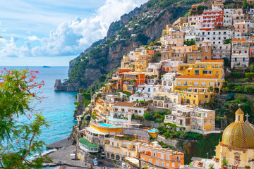 Foto auf Gartenposter Grau Beautiful Landscape with Positano town at famous amalfi coast, Italy