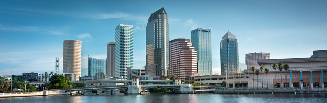 Downtown city panoramic skyline view of Tampa Florida USA looking over the Hillsborough Bay and the Riverwalk