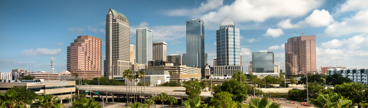 Downtown city panormic skyline view of Tampa Florida USA looking over the freeway and the Riverwalk