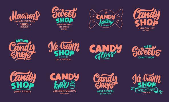 Set of vintage phrases. Emblems, badges, templates, stickers on purple background.
