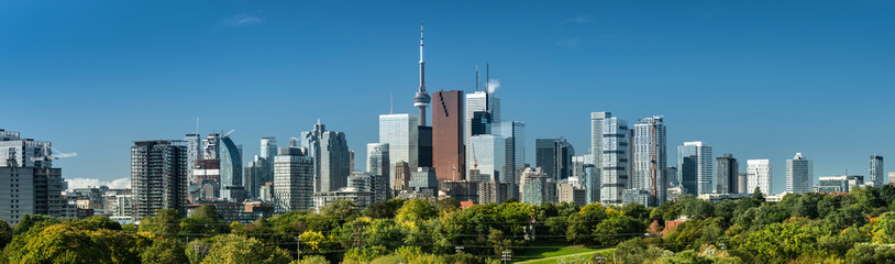 Downtown Toronto Canada cityscape skyline view over Riverdale Park in Ontario, Canada