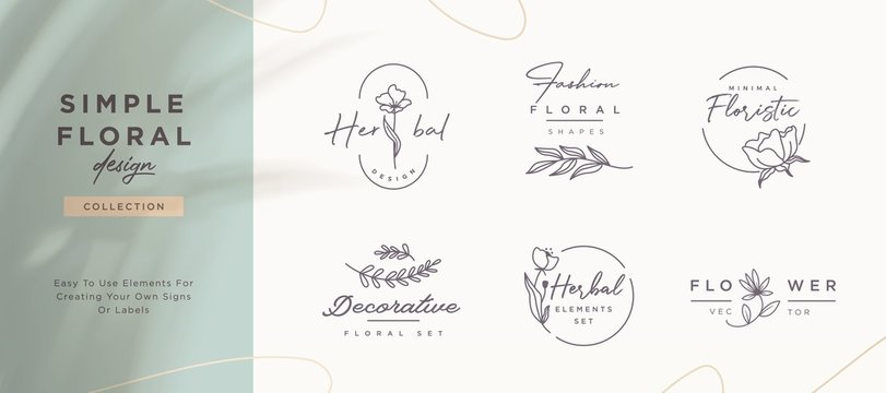 Set of minimalistic elegant geometric floral elements. Premade decorative fashion labels, signs. Vector