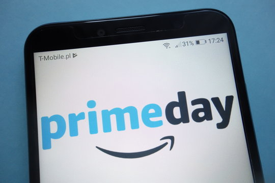 KONSKIE, POLAND - SEPTEMBER 29, 2018: Amazon prime day logo on smartphone