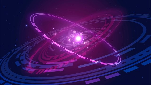 Glowing futuristic solar system or galaxy in space, abstract technology object