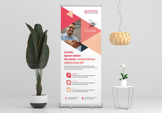 Roll-Up Banner Layout with Pink Accents