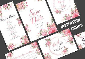 Wedding Invitation Layout Set with Pink Watercolor Flowers